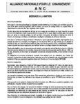 Message a la Nation de Jean-Pierre FABRE President de lANC