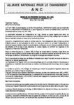 MESSAGE DU PRESIDENT NATIONAL DE L'ANC  A l'occasion du 53e anniversaire de l'indépendance du Togo